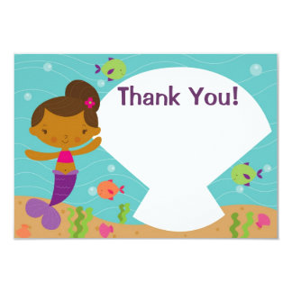 Customizable Kids Mermaid Party Thank You 3.5x5 Paper Invitation Card
