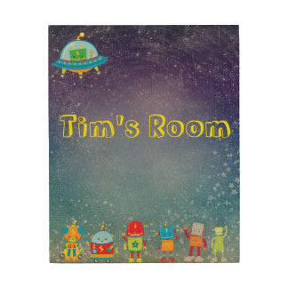 Customizable Kids Room Space and Robots Wood Art