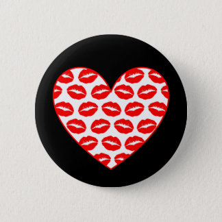 Customizable Kissy Lips Heart Button