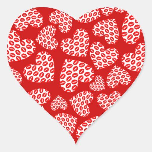 Customizable Kissy Lips Hearts Heart Stickers