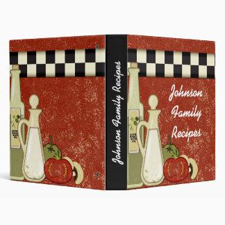 Customizable kitchen design recipe binder