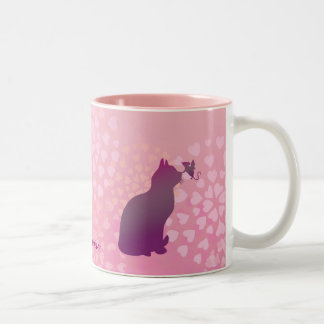 Customizable: Kitty and fairy mouse Two-Tone Coffee Mug