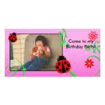 Customizable Ladybug card in Pink Picture Card