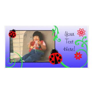 Customizable Ladybug card in Purple Photo Card Template