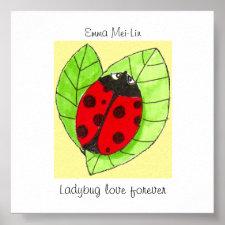 Customizable Ladybug love forever poster print
