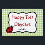 "Customizable Ladybug Yard Sign<br><div class=""desc"">A cute ladybug and green gingham decorate this cute yard sign. Customize this yard sign to suit your needs. Use this custom yard sign for a daycare, preschool, child care, nursery, pet grooming, lawn care, church, bible school, vacation bible school, a baby shower, etc... ..The design is from original art....</div>"