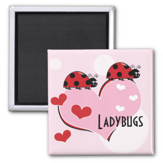 Customizable Ladybugs and Hearts 2 Inch Square Magnet