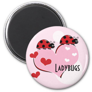 Customizable Ladybugs and Hearts 2 Inch Round Magnet