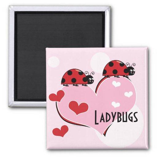 Customizable Ladybugs and Hearts Fridge Magnets