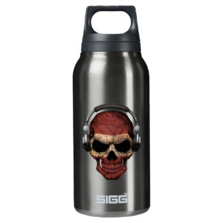 Customizable Latvian Dj Skull with Headphones Insulated Water Bottle