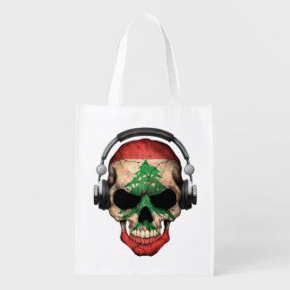 Customizable Lebanese Dj Skull with Headphones Market Totes