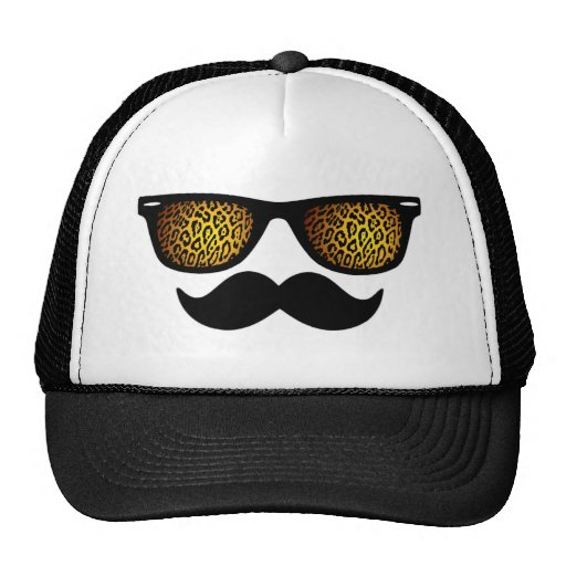 Customizable Leopard Wayfarer Mustache Design Trucker Hats
