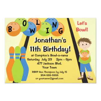 Customizable Let's Go Bowling Birthday Party 5x7 Paper Invitation Card