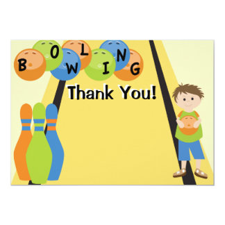 Customizable Let's Go Bowling Thank You 5x7 Paper Invitation Card