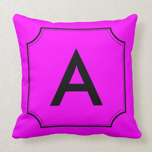Letter B Throw Pillow : Customizable Letter Square Cut Corner Magenta Throw Pillow Zazzle