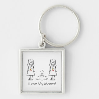 Customizable LGBT 2 Moms & Baby Keychain