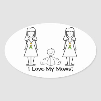 Customizable LGBT 2 Moms & Baby Oval Sticker