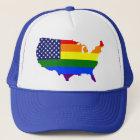 Customizable LGBT Pride America trucker hat. Trucker Hat
