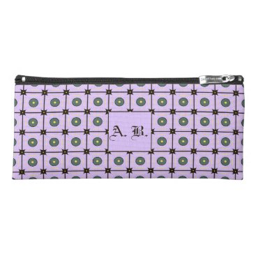 Beach Themed Customizable Lilac Geometric Pattern Pencil Case
