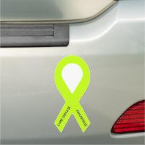 Customizable Lime Green Awareness Ribbon Car Magnet