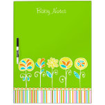 Customizable Lime Green Flowers Cute Baby Notes Dry Erase Whiteboard