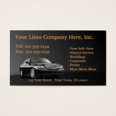 Customizable Limousine Business Cards at Zazzle
