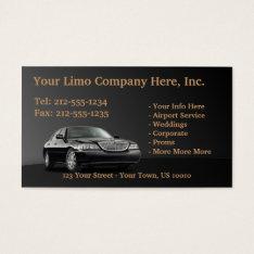 CUSTOMIZABLE Limousine Business Cards at Zazzle
