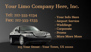 Limo business cards templates zazzle customizable limousine business cards colourmoves Images