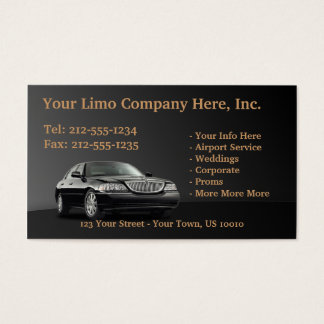 CUSTOMIZABLE Limousine Business Cards