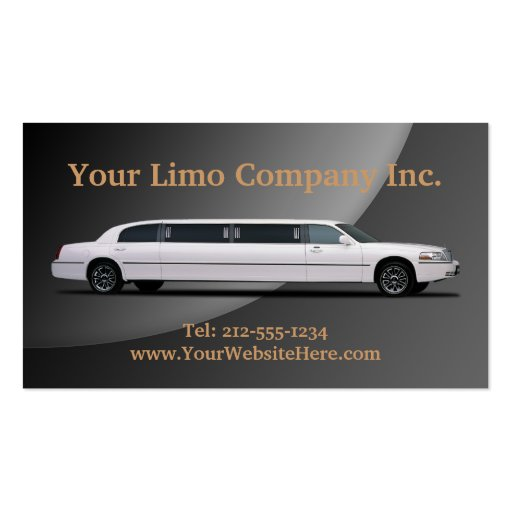 CUSTOMIZABLE Limousine Business Cards (back side)