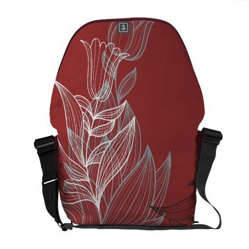 Customizable Lineart Lily Rickshaw Messenger Bag