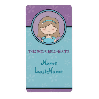 Customizable Little Girl Bookplates Shipping Label