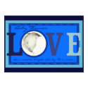 Customizable LOVE baby photo blue announcements
