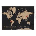 Customizable Love & Distance World Map Card