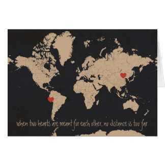 Customizable Love & Distance World Map Greeting Cards