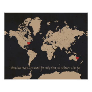Customizable Love & Distance World Map Print