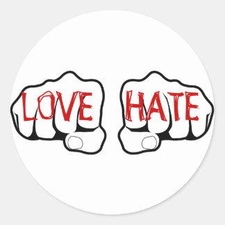 Customizable LOVE HATE Fists Round Sticker