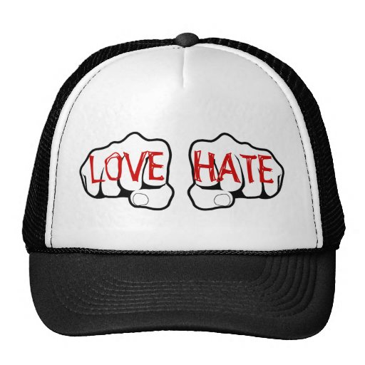 Customizable LOVE HATE Fists Trucker Hat