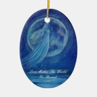 Customizable Love Makes The World Go Round Angel O Ceramic Ornament