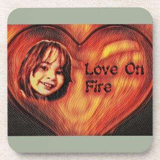 Customizable Love On Fire Heart Design Beverage Coaster