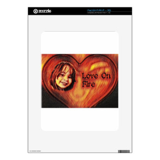 Customizable Love On Fire Heart Design Decals For The iPad