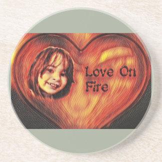 Customizable Love On Fire Heart Design Drink Coaster
