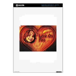 Customizable Love On Fire Heart Design iPad 3 Decals