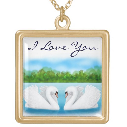 Customizable Love Swans Necklace