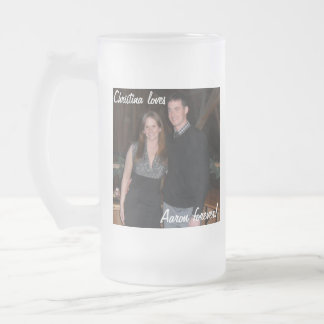"Customizable ""loves"" Mug! Frosted Glass Beer Mug"