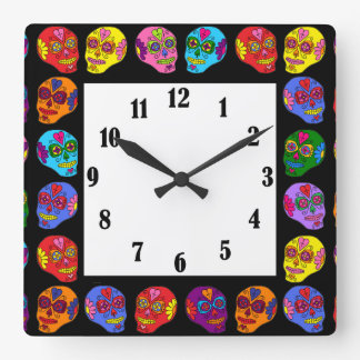 Customizable Lucha Libre Sugar Skulls Square Wall Clock