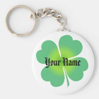 Customizable Lucky Four Leaf Clover Keychain