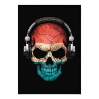 Customizable Luxembourg Dj Skull with Headphones Card