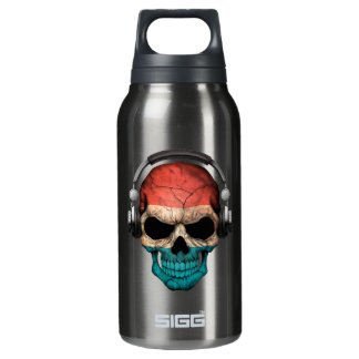 Customizable Luxembourg Dj Skull with Headphones Insulated Water Bottle