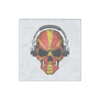 Customizable Macedonian Dj Skull with Headphones Stone Magnet